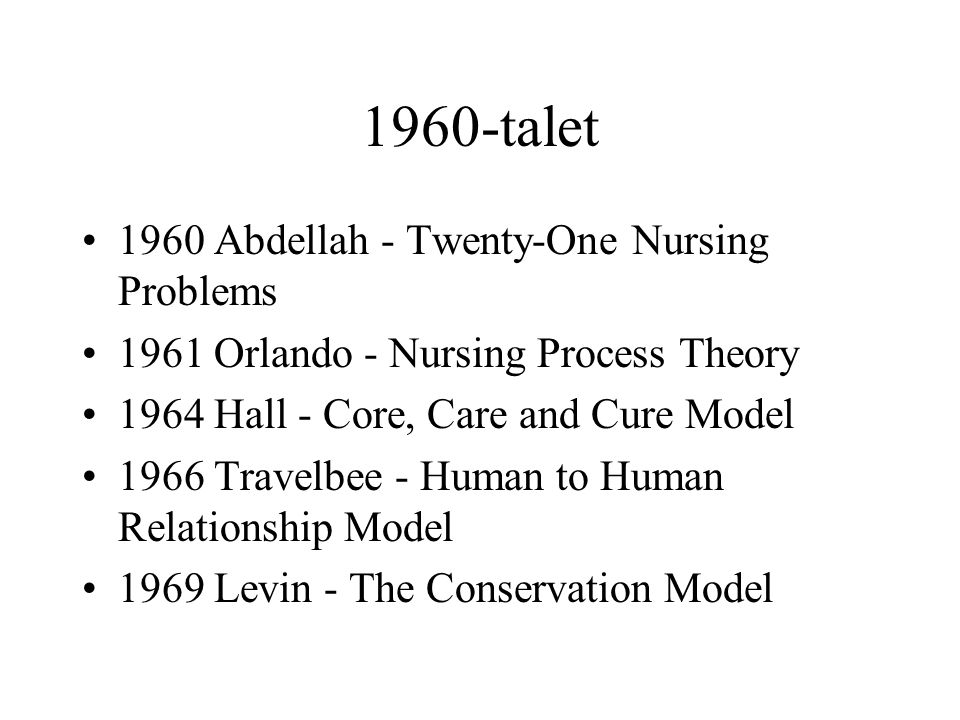 1960-talet 1960 Abdellah - Twenty-One Nursing Problems