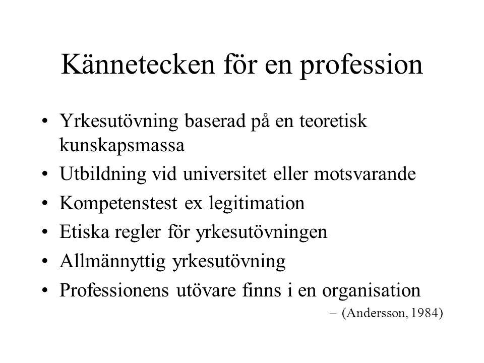 Kännetecken för en profession