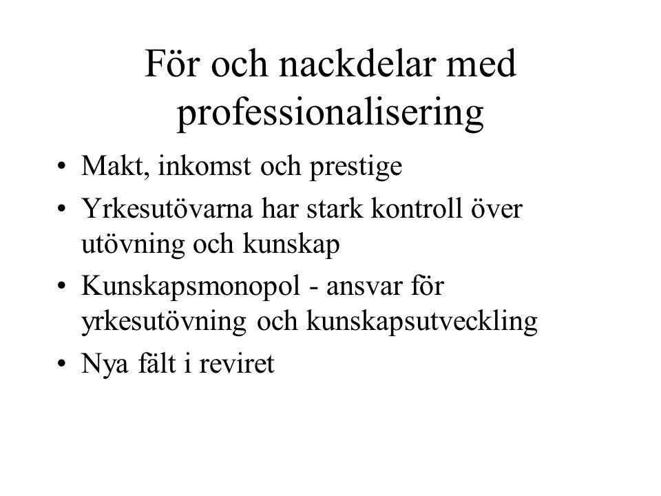 För och nackdelar med professionalisering