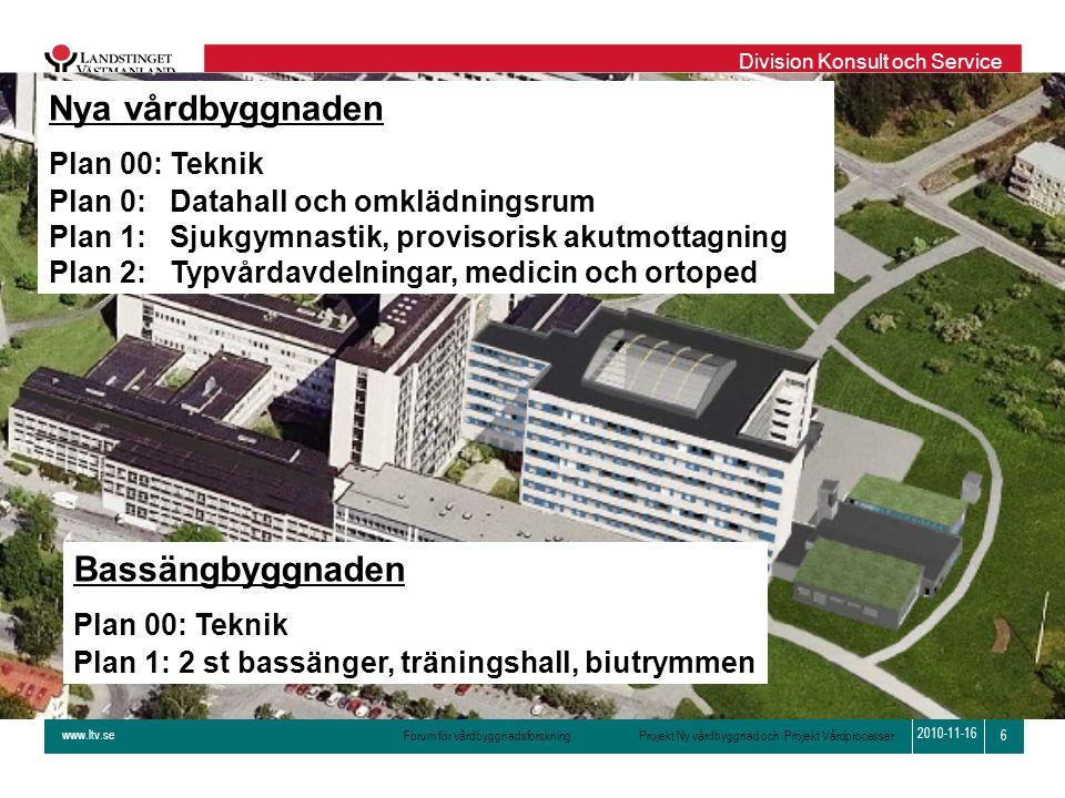 Nya vårdbyggnaden Bassängbyggnaden Plan 00: Teknik