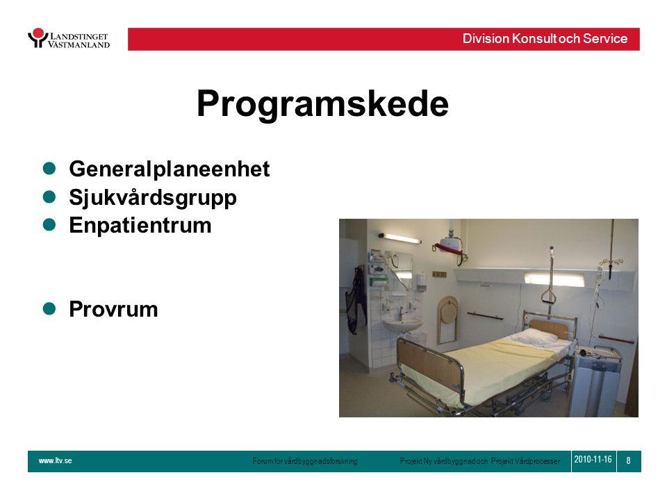 Programskede Generalplaneenhet Sjukvårdsgrupp Enpatientrum Provrum