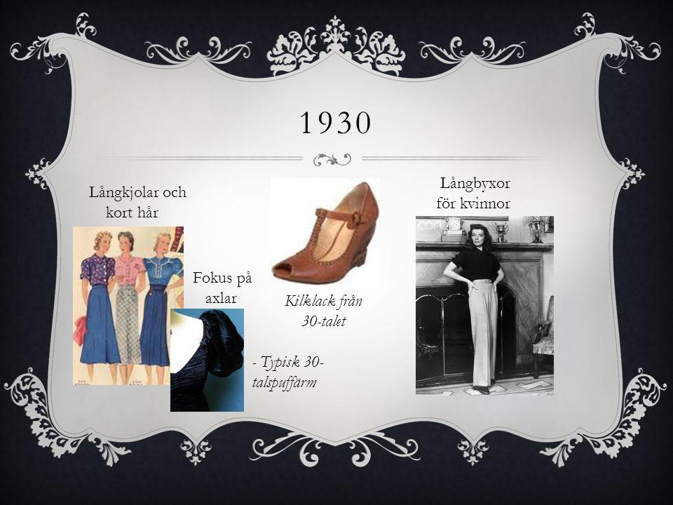 1930 Långbyxor för kvinnor Långkjolar och kort hår Fokus på axlar