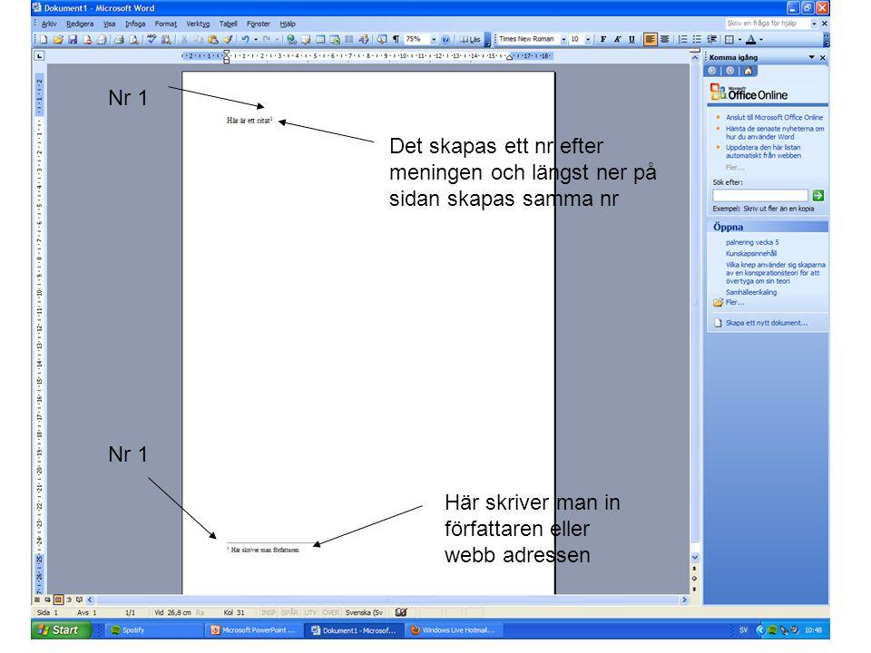 Nr 1 Det skapas ett nr efter meningen och längst ner på sidan skapas samma nr.