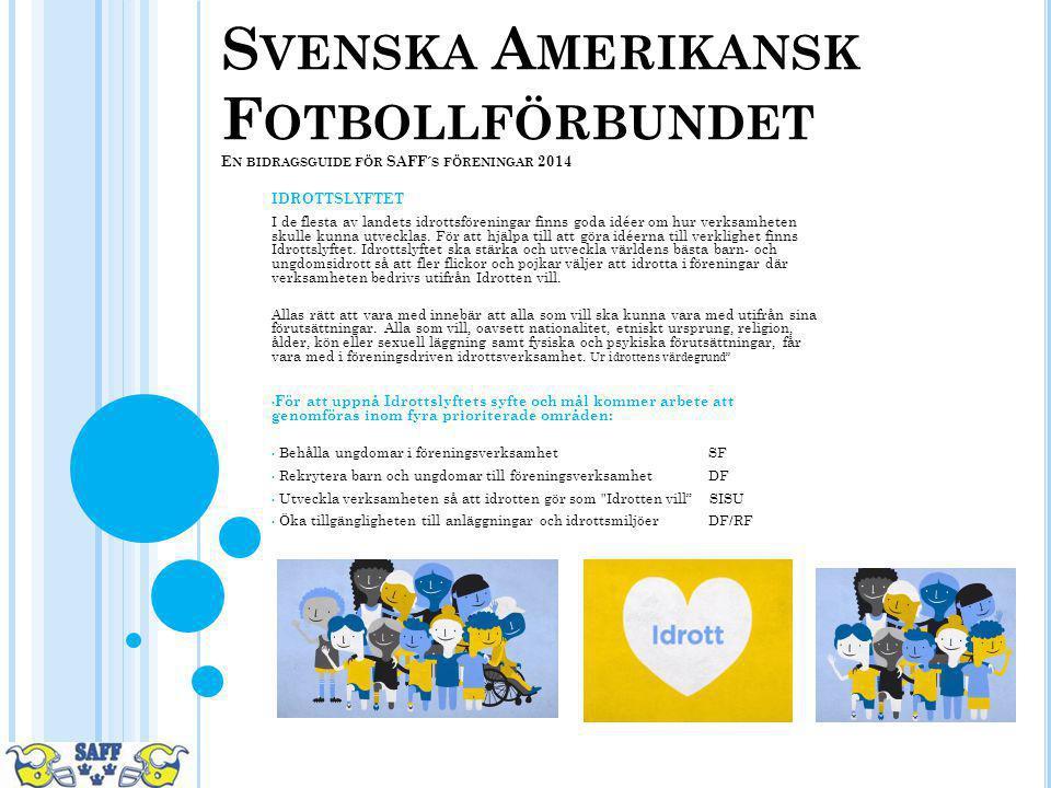 Svenska Amerikansk Fotbollförbundet En bidragsguide för SAFF´s föreningar 2014