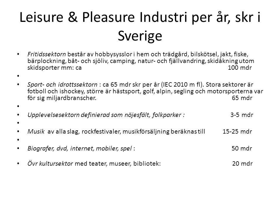 Leisure & Pleasure Industri per år, skr i Sverige