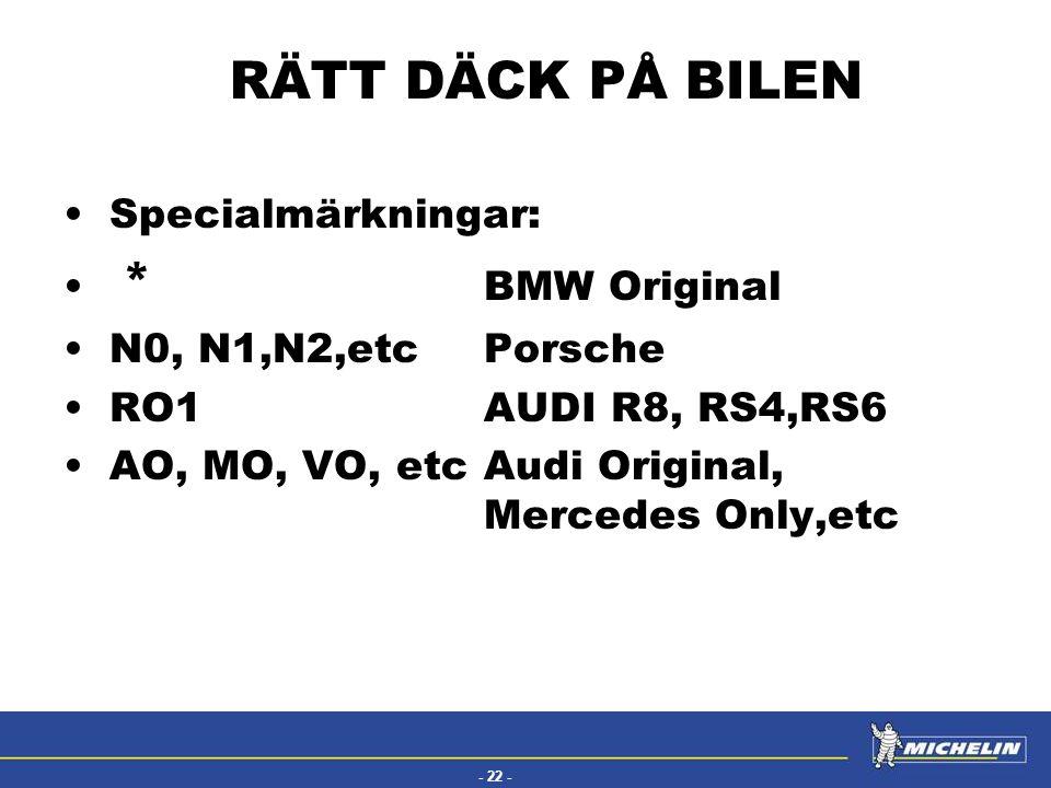 RÄTT DÄCK PÅ BILEN Specialmärkningar: * BMW Original