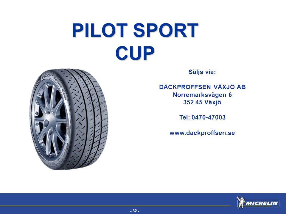 PILOT SPORT CUP Säljs via: DÄCKPROFFSEN VÄXJÖ AB Norremarksvägen 6