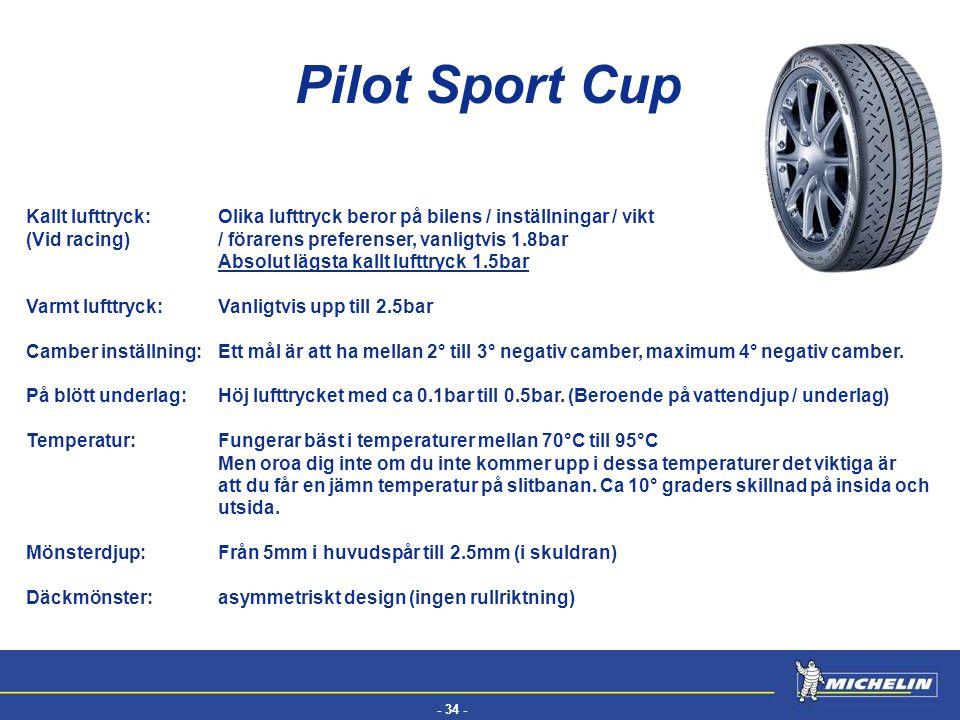 Pilot Sport Cup Kallt lufttryck: Olika lufttryck beror på bilens / inställningar / vikt.