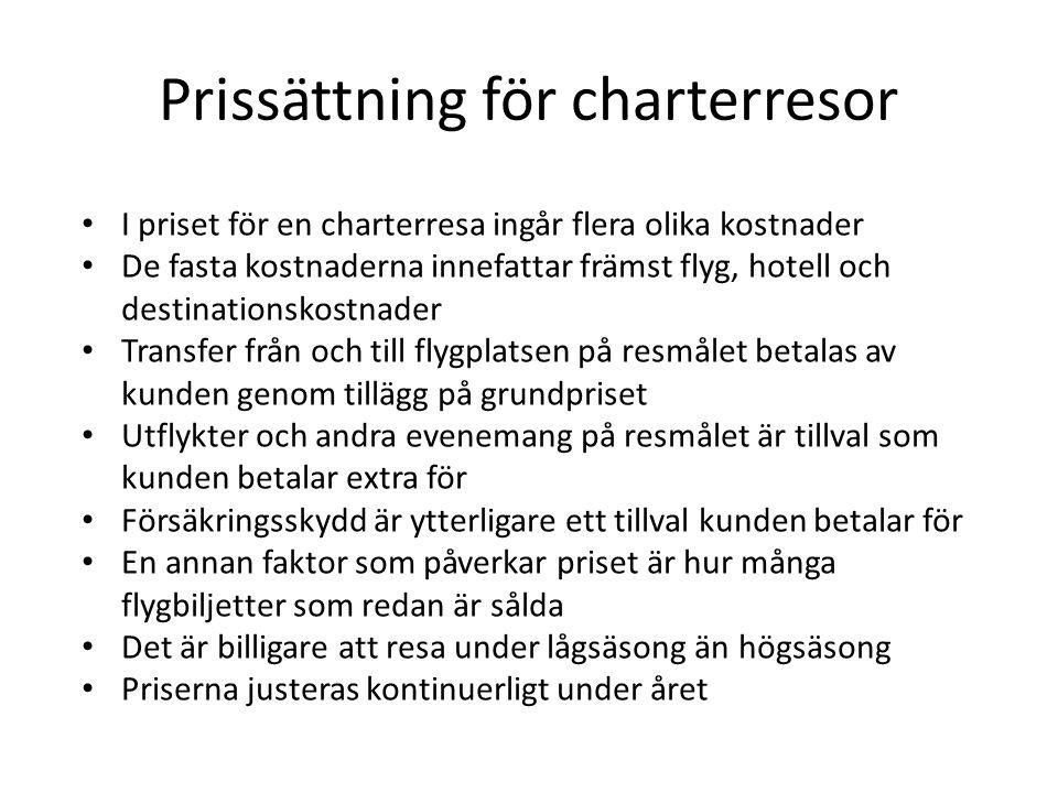 Prissättning för charterresor