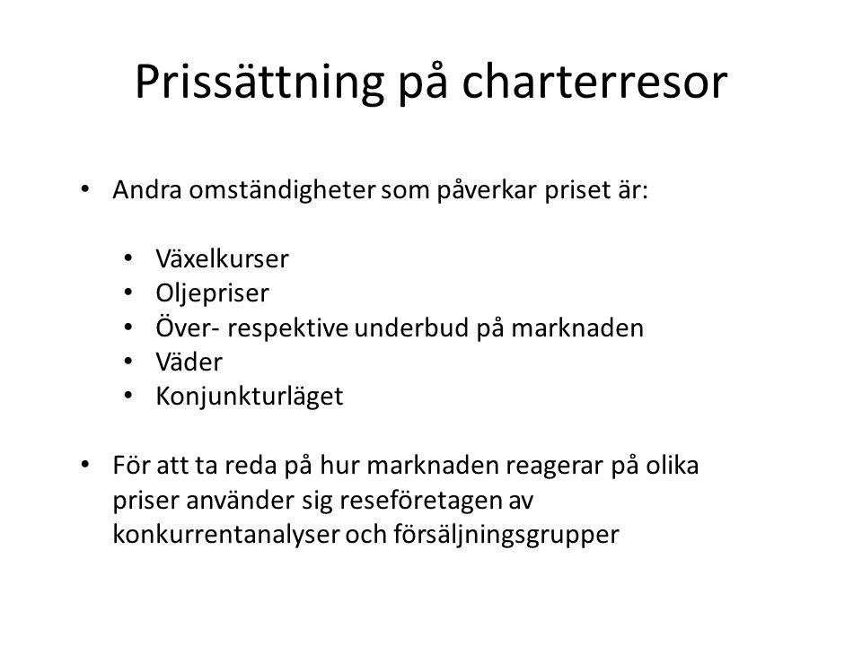 Prissättning på charterresor
