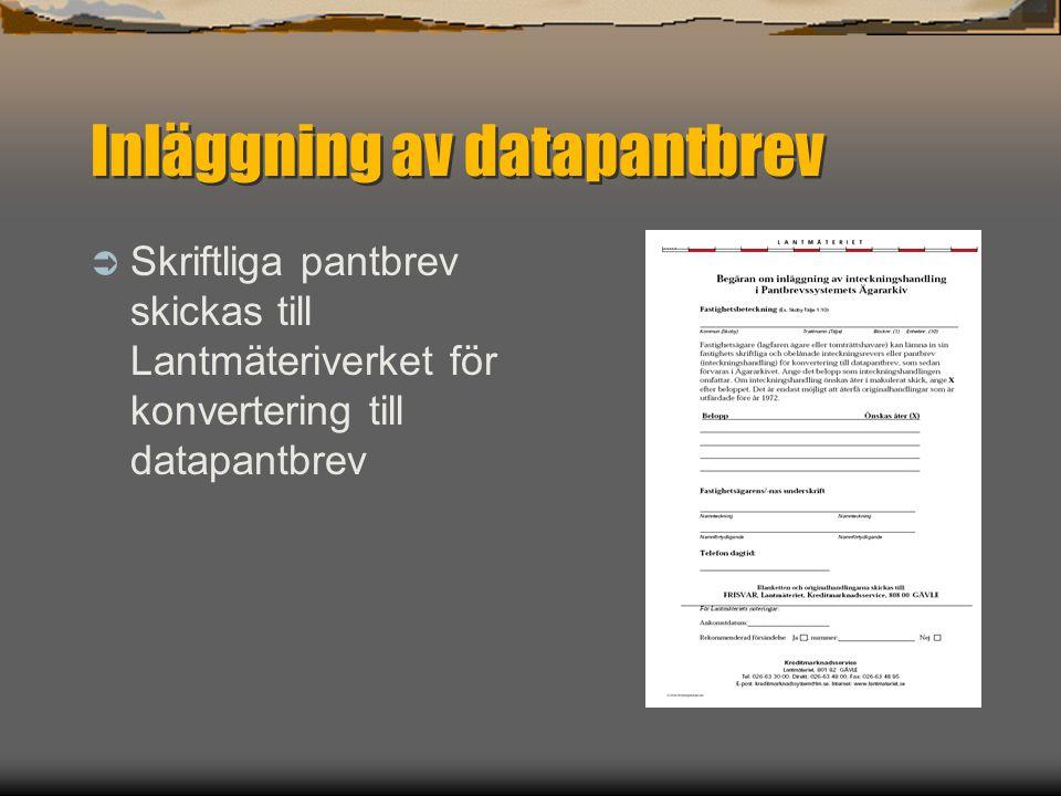 Inläggning av datapantbrev