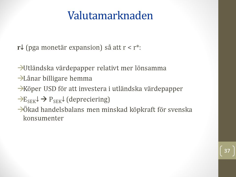 Valutamarknaden r↓ (pga monetär expansion) så att r < r*: