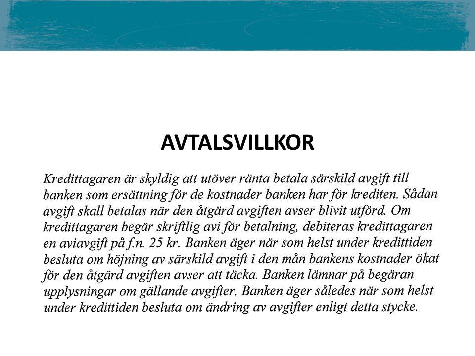 AVTALSVILLKOR LÄS AVTALSTEXTEN