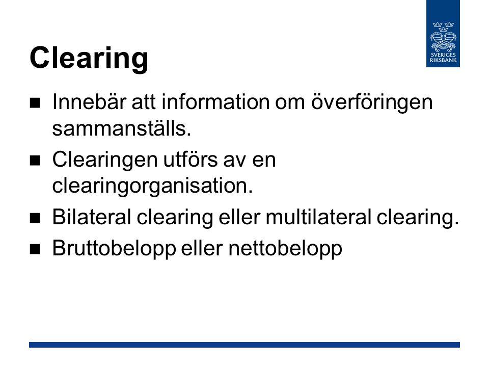 Clearing Innebär att information om överföringen sammanställs.