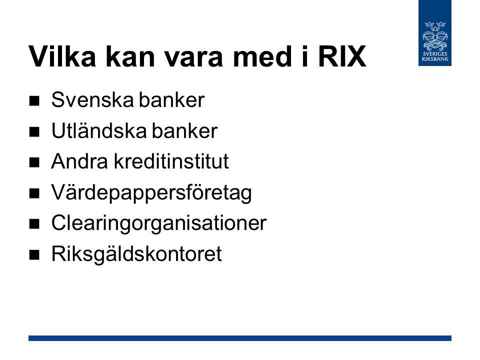 Vilka kan vara med i RIX Svenska banker Utländska banker