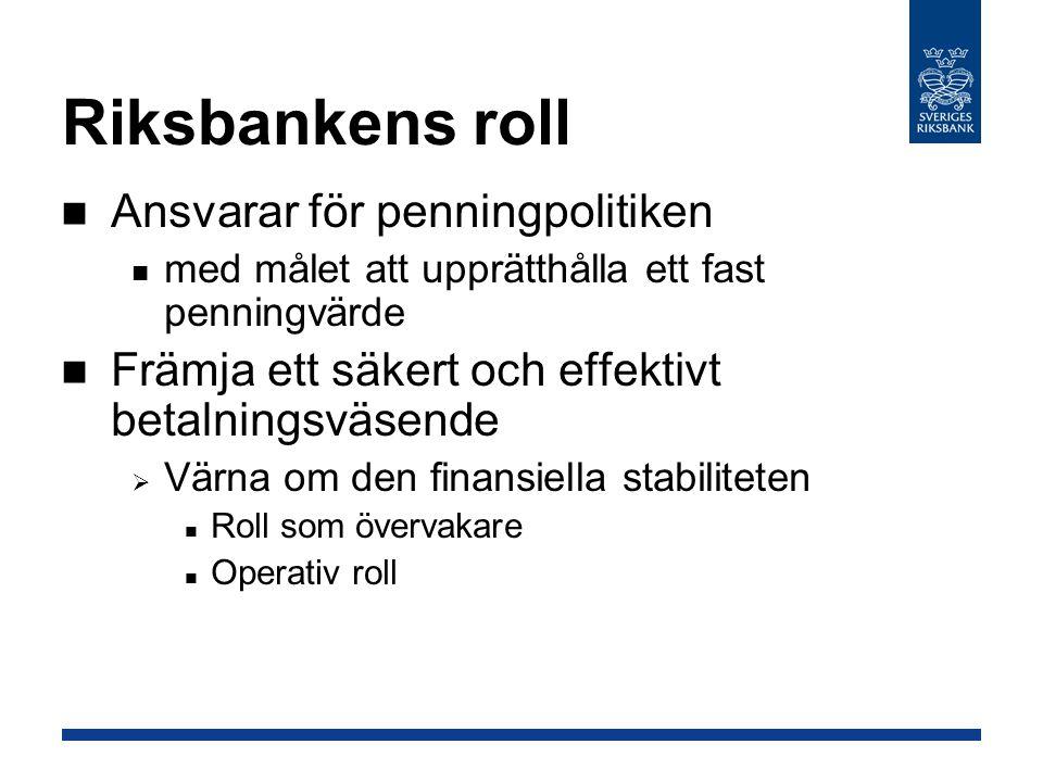 Riksbankens roll Ansvarar för penningpolitiken