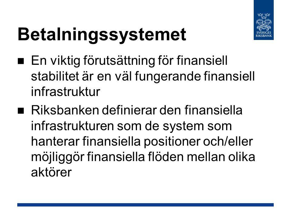 Betalningssystemet En viktig förutsättning för finansiell stabilitet är en väl fungerande finansiell infrastruktur.