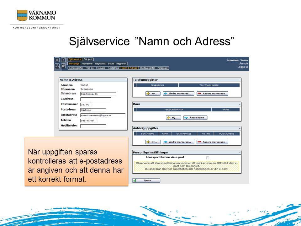 Självservice Namn och Adress