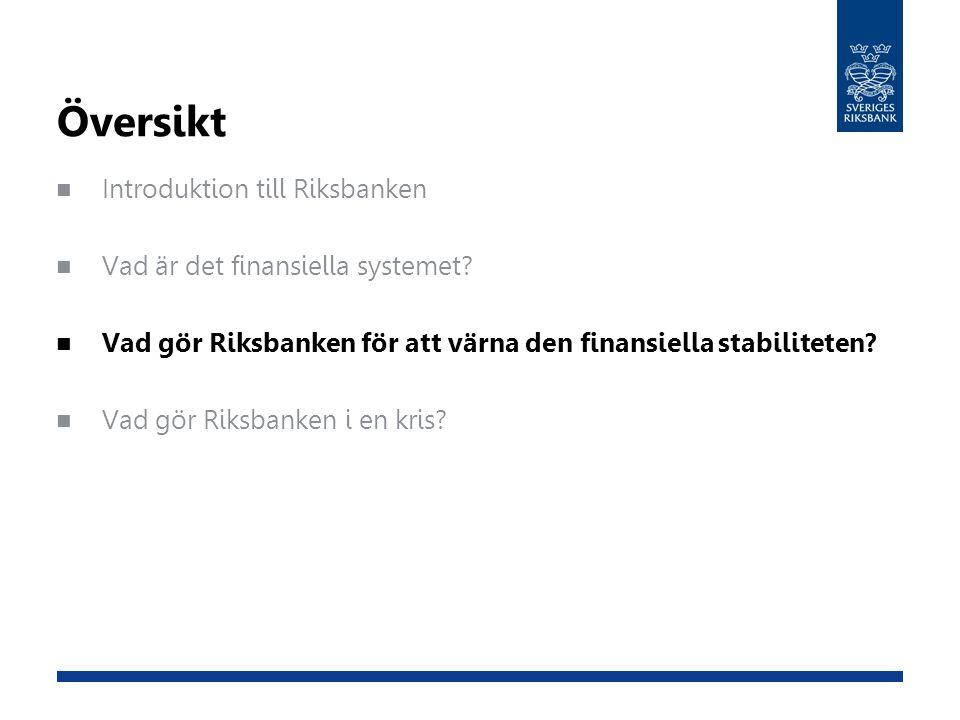 Översikt Introduktion till Riksbanken Vad är det finansiella systemet