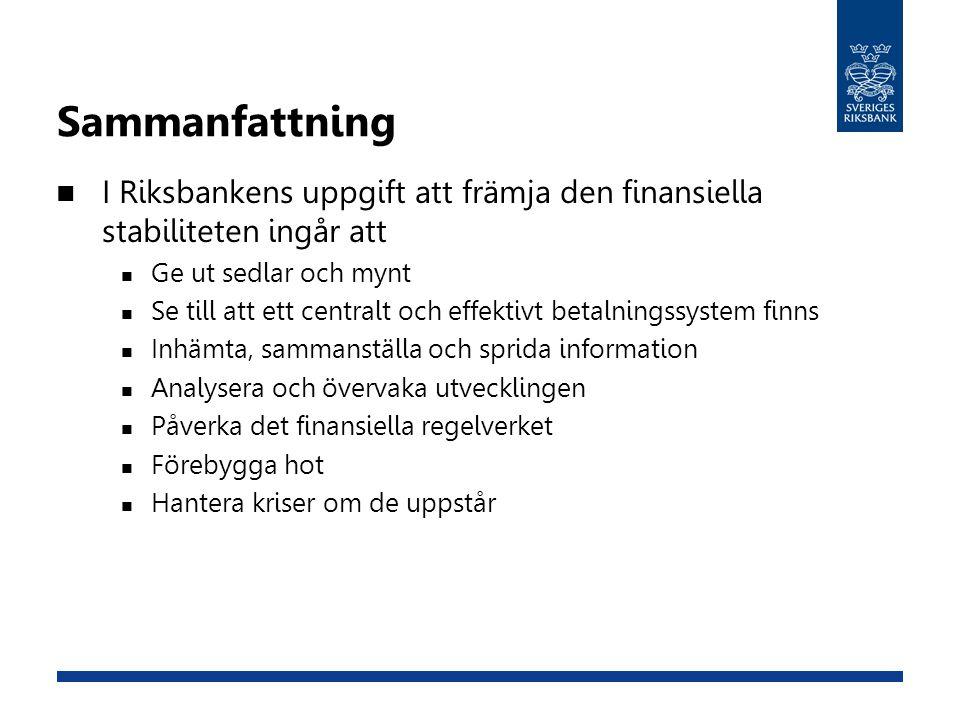 Sammanfattning I Riksbankens uppgift att främja den finansiella stabiliteten ingår att. Ge ut sedlar och mynt.