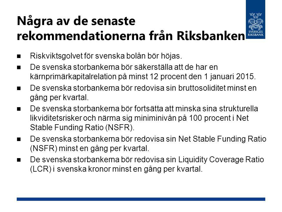 Några av de senaste rekommendationerna från Riksbanken