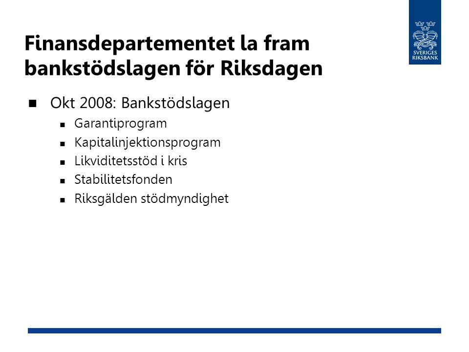 Finansdepartementet la fram bankstödslagen för Riksdagen