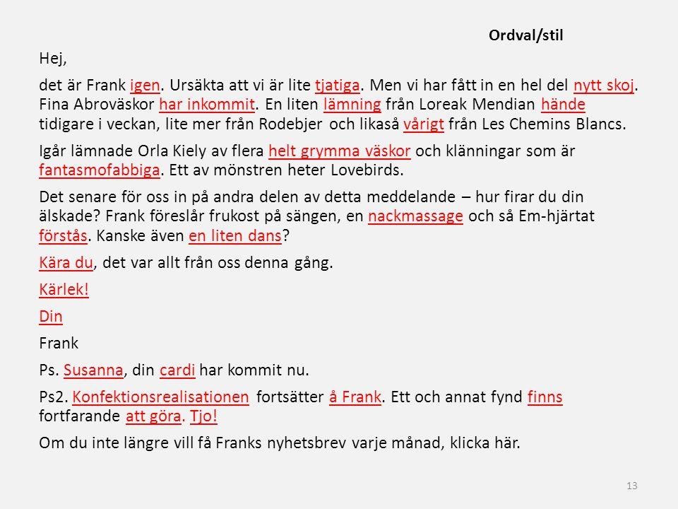 Ordval/stil
