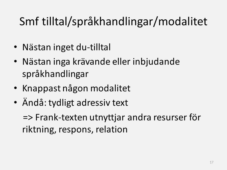 Smf tilltal/språkhandlingar/modalitet