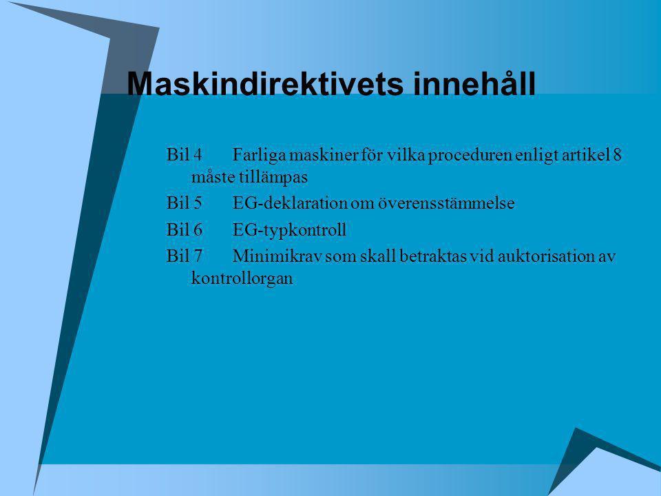 Maskindirektivets innehåll