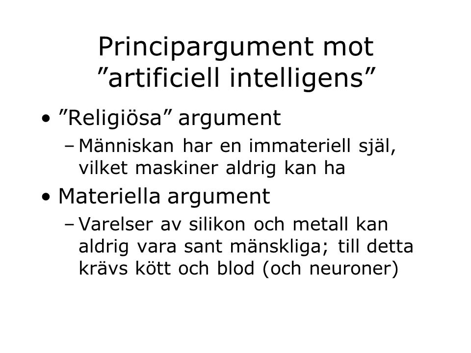 Principargument mot artificiell intelligens
