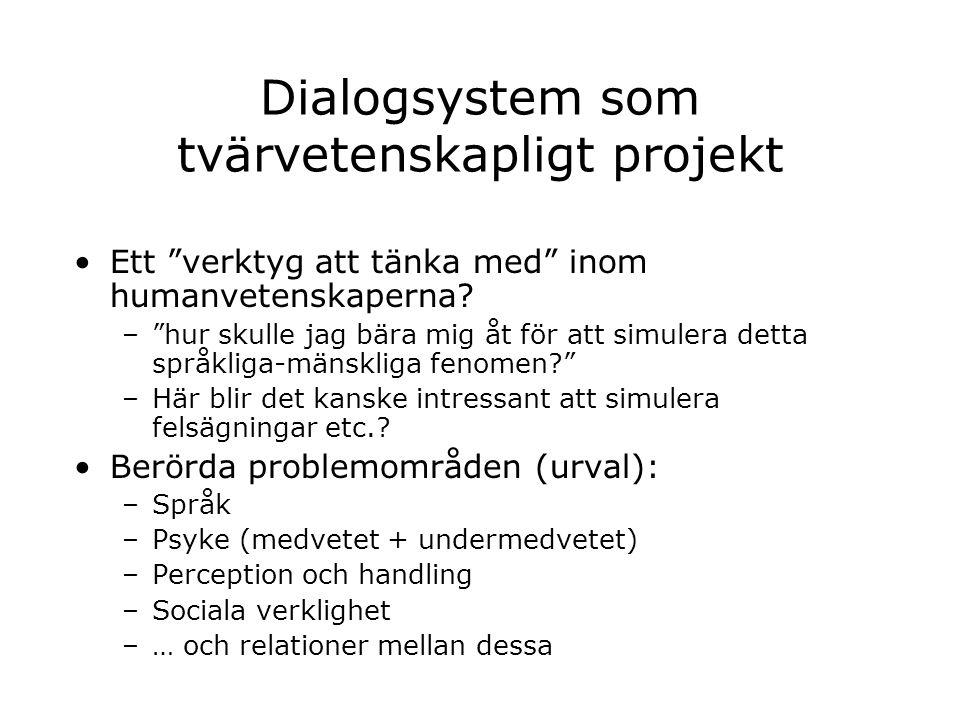 Dialogsystem som tvärvetenskapligt projekt
