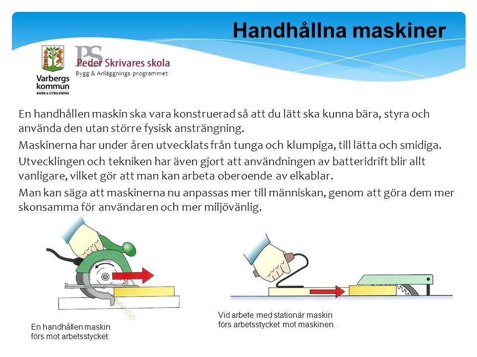 Handhållna maskiner Bygg & Anläggnings programmet.