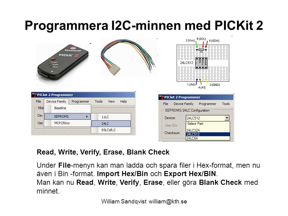 Programmera I2C-minnen med PICKit 2