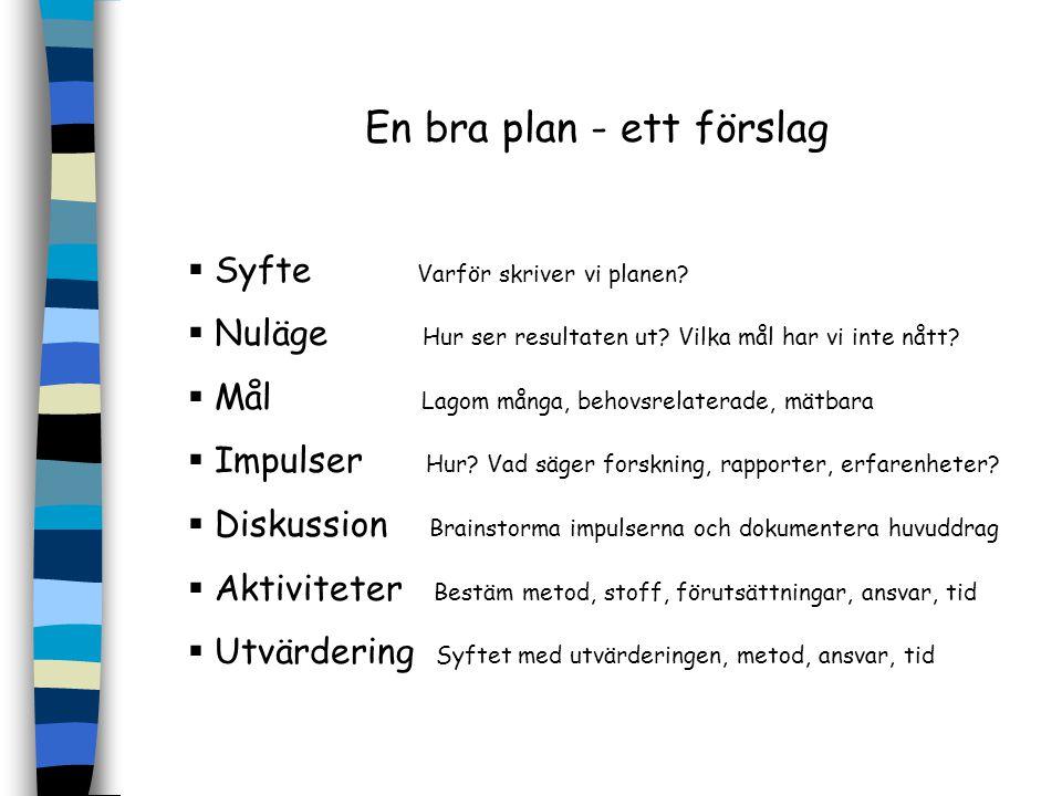 En bra plan - ett förslag