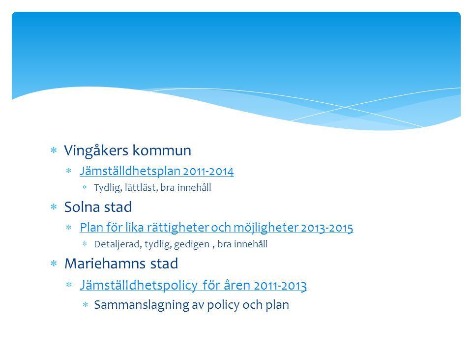 Vingåkers kommun Solna stad Mariehamns stad