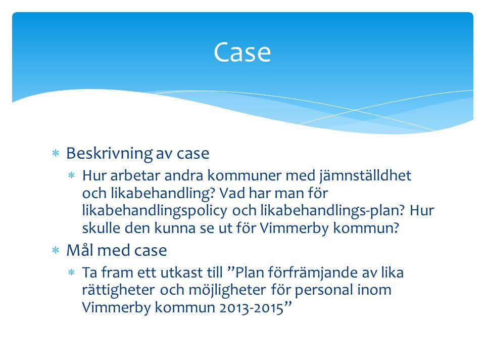 Case Beskrivning av case Mål med case