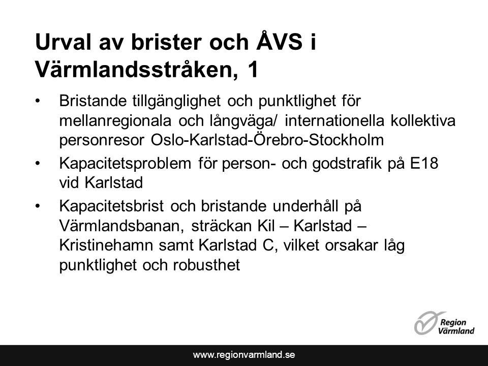 Urval av brister och ÅVS i Värmlandsstråken, 1