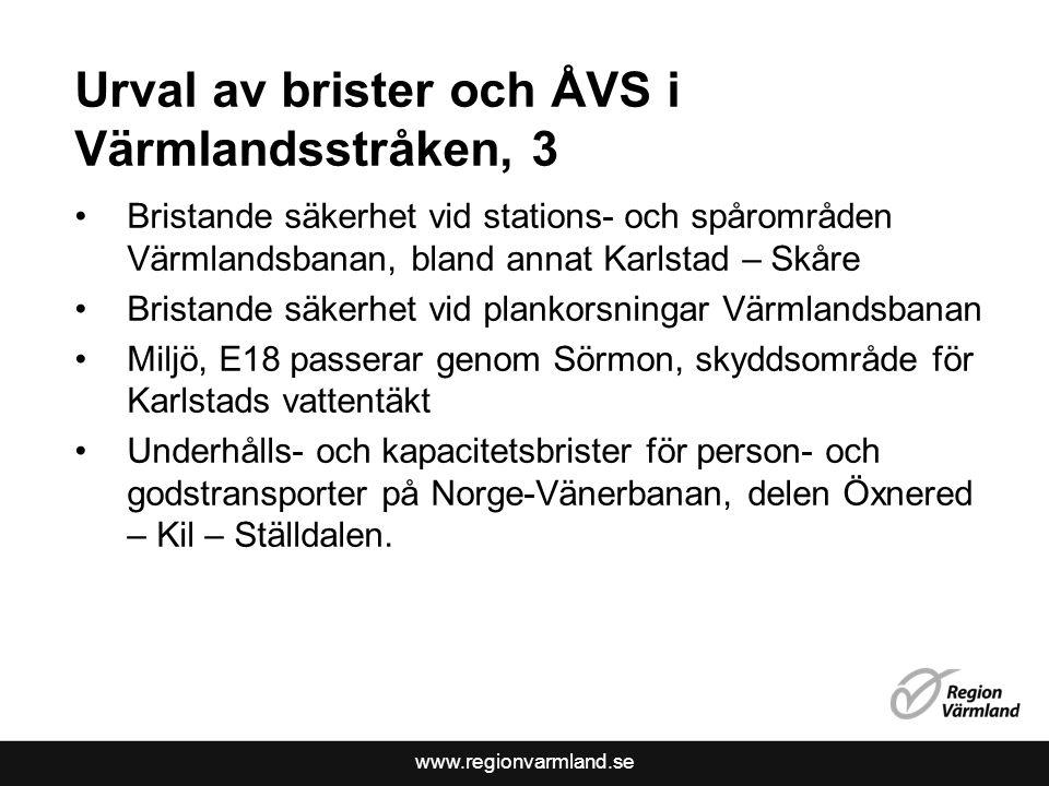 Urval av brister och ÅVS i Värmlandsstråken, 3