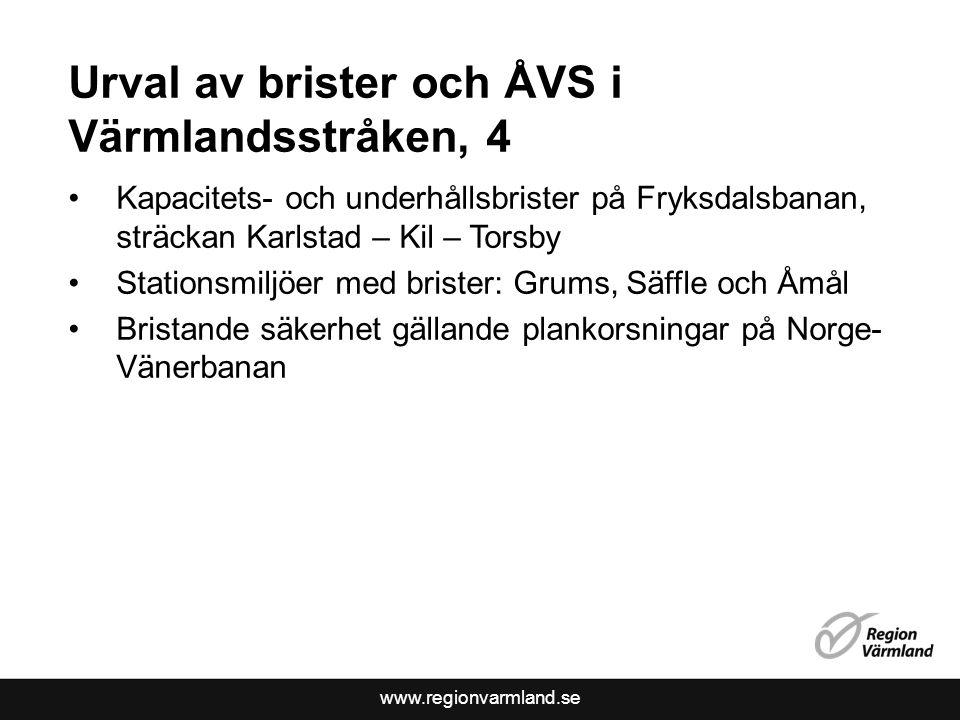 Urval av brister och ÅVS i Värmlandsstråken, 4