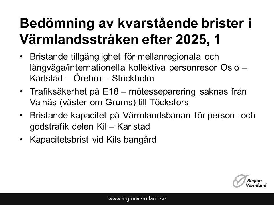 Bedömning av kvarstående brister i Värmlandsstråken efter 2025, 1
