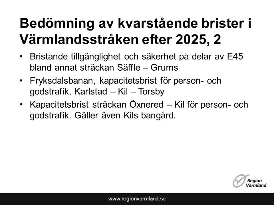 Bedömning av kvarstående brister i Värmlandsstråken efter 2025, 2