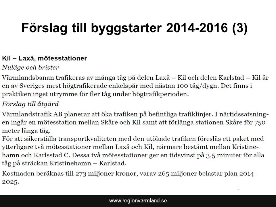 Förslag till byggstarter 2014-2016 (3)