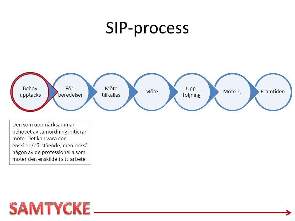 SIP-process Behov upptäcks. För-beredelser. Möte tillkallas. Möte. Upp-följning. Möte 2, Framtiden.