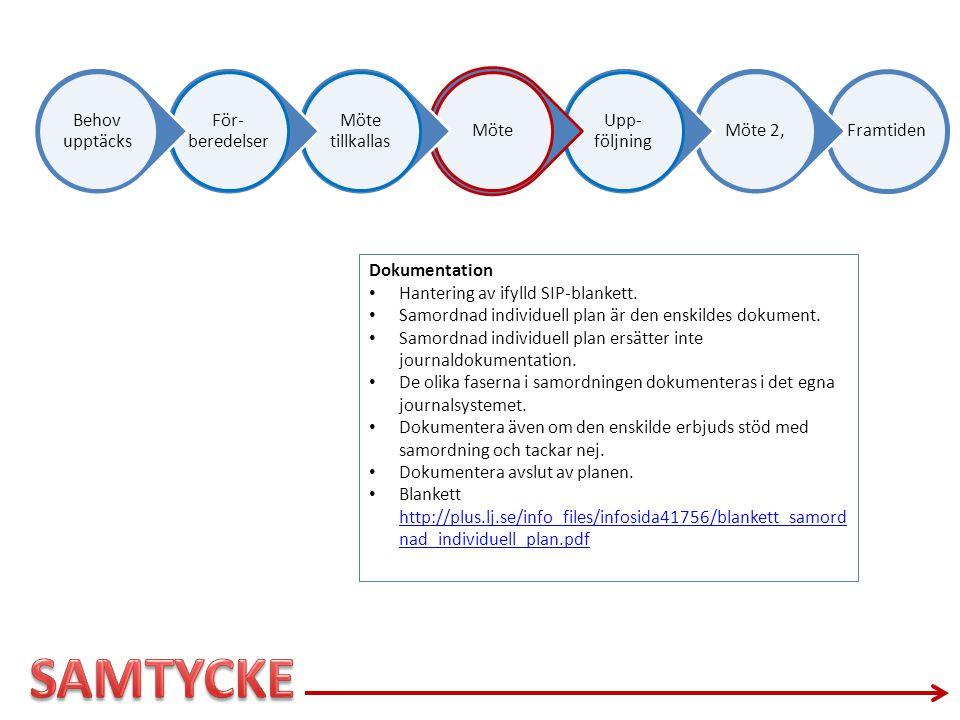 SAMTYCKE Dokumentation Hantering av ifylld SIP-blankett.