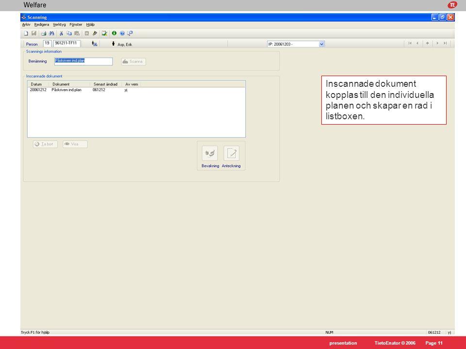 Inscannade dokument kopplas till den individuella planen och skapar en rad i listboxen.