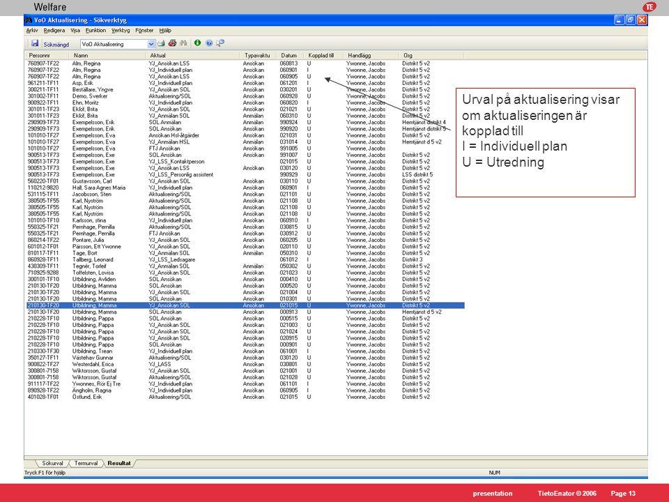 Urval på aktualisering visar om aktualiseringen är kopplad till I = Individuell plan U = Utredning