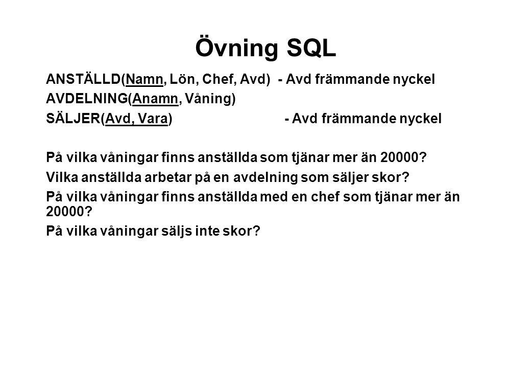 Övning SQL ANSTÄLLD(Namn, Lön, Chef, Avd) - Avd främmande nyckel
