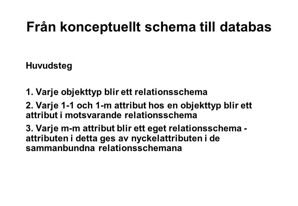 Från konceptuellt schema till databas