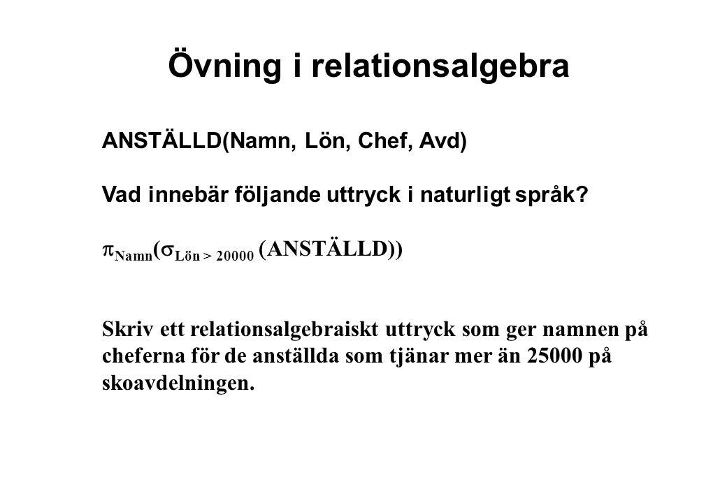 Övning i relationsalgebra