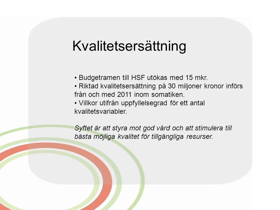 Kvalitetsersättning Budgetramen till HSF utökas med 15 mkr.